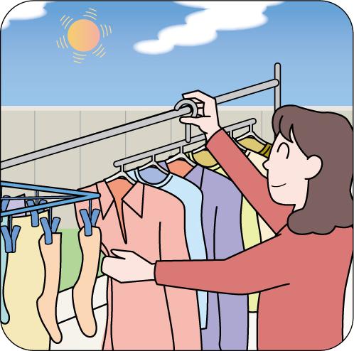 晴れの日に洗濯物を干しているイラスト